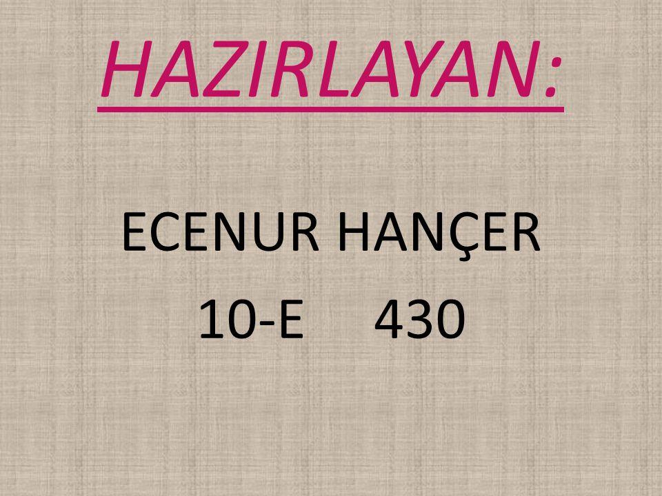 HAZIRLAYAN: ECENUR HANÇER 10-E 430