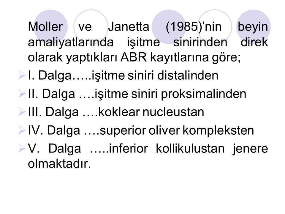 Moller ve Janetta (1985)'nin beyin amaliyatlarında işitme sinirinden direk olarak yaptıkları ABR kayıtlarına göre;