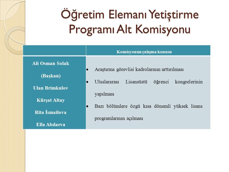 Öğretim Elemanı Yetiştirme Programı Alt Komisyonu