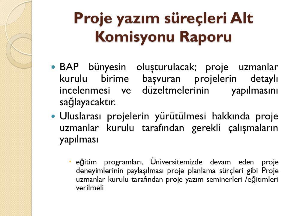 Proje yazım süreçleri Alt Komisyonu Raporu