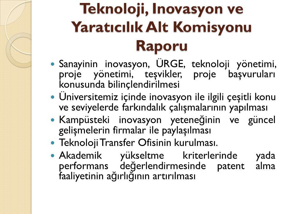Teknoloji, Inovasyon ve Yaratıcılık Alt Komisyonu Raporu