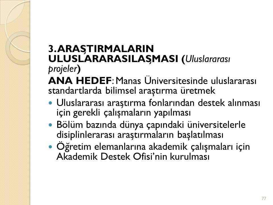 3. ARAŞTIRMALARIN ULUSLARARASILAŞMASI (Uluslararası projeler)
