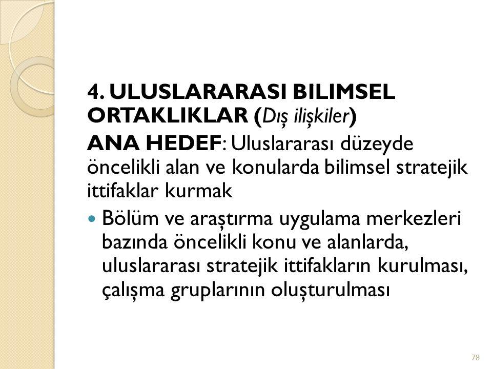 4. ULUSLARARASI BİLİMSEL ORTAKLIKLAR (Dış ilişkiler)