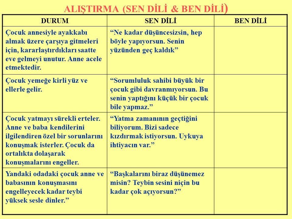 ALIŞTIRMA (SEN DİLİ & BEN DİLİ)