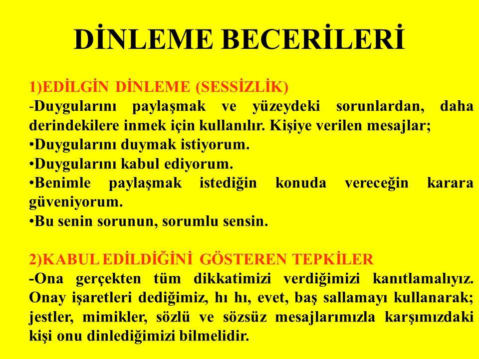 DİNLEME BECERİLERİ 1)EDİLGİN DİNLEME (SESSİZLİK)