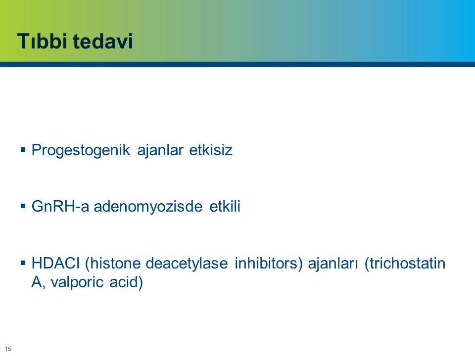 Tıbbi tedavi Progestogenik ajanlar etkisiz GnRH-a adenomyozisde etkili