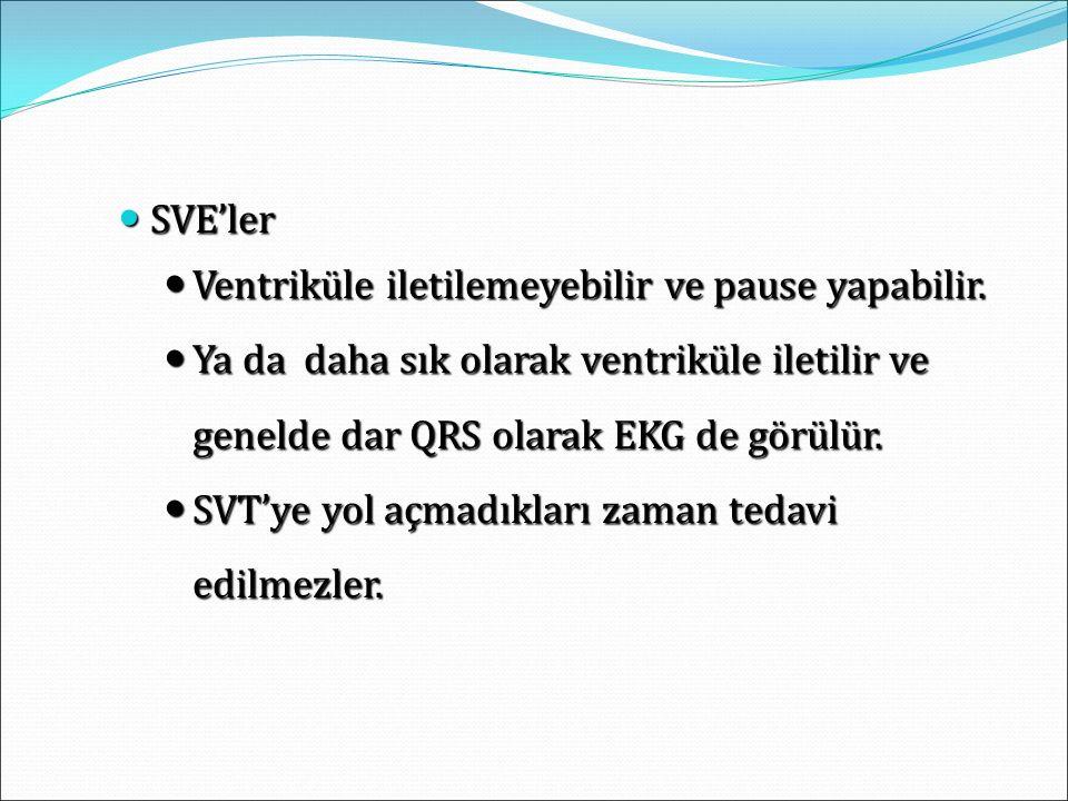 SVE'ler Ventriküle iletilemeyebilir ve pause yapabilir. Ya da daha sık olarak ventriküle iletilir ve genelde dar QRS olarak EKG de görülür.