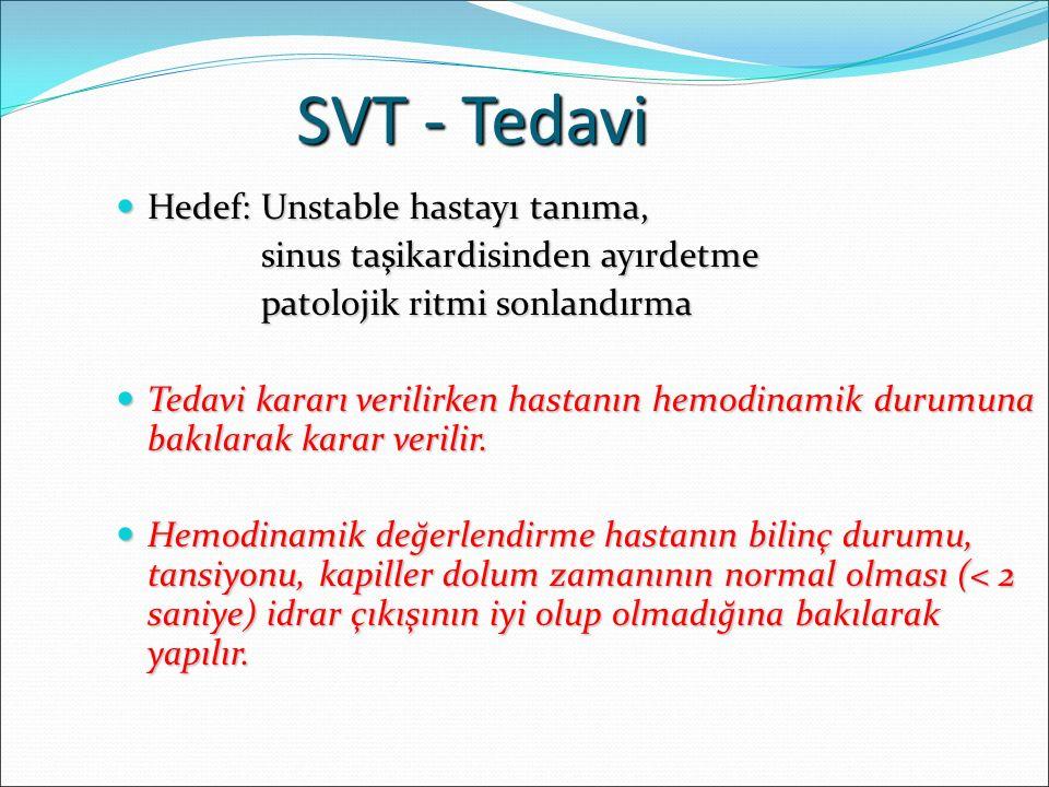 SVT - Tedavi Hedef: Unstable hastayı tanıma,