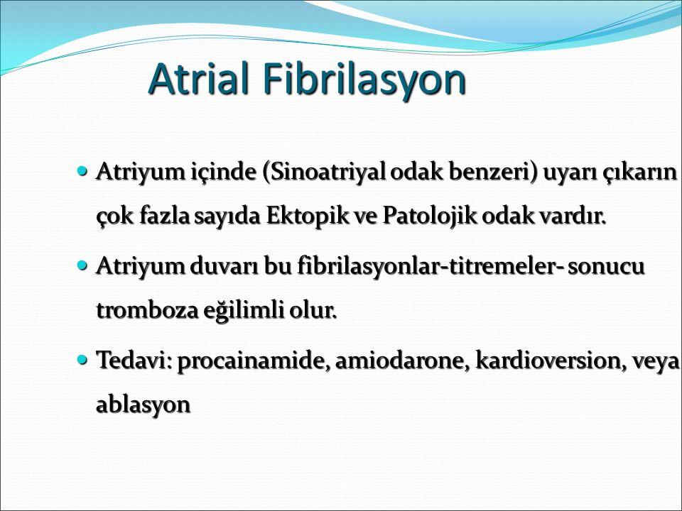 Atrial Fibrilasyon Atriyum içinde (Sinoatriyal odak benzeri) uyarı çıkarın çok fazla sayıda Ektopik ve Patolojik odak vardır.