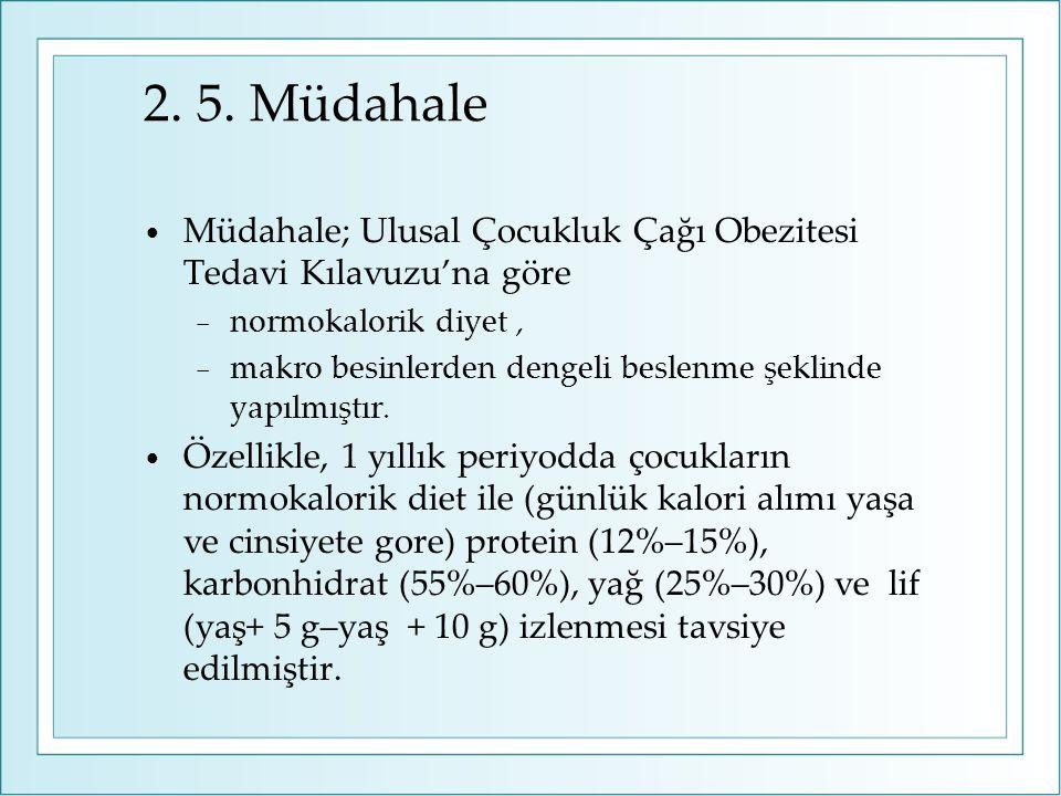 2. 5. Müdahale Müdahale; Ulusal Çocukluk Çağı Obezitesi Tedavi Kılavuzu'na göre. normokalorik diyet ,