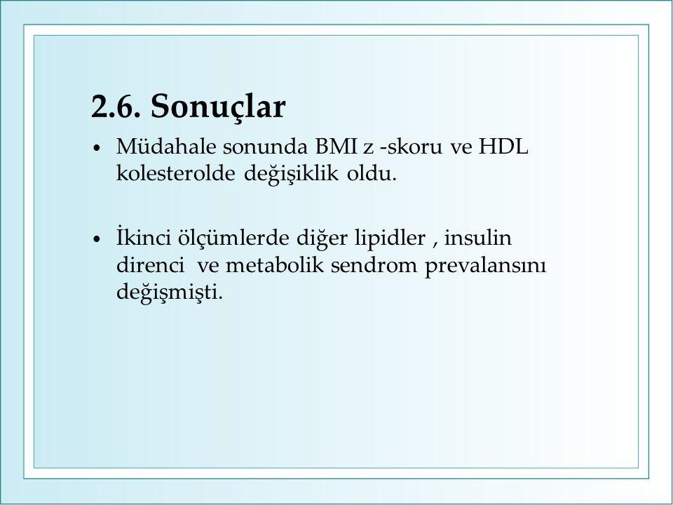 2.6. Sonuçlar Müdahale sonunda BMI z -skoru ve HDL kolesterolde değişiklik oldu.