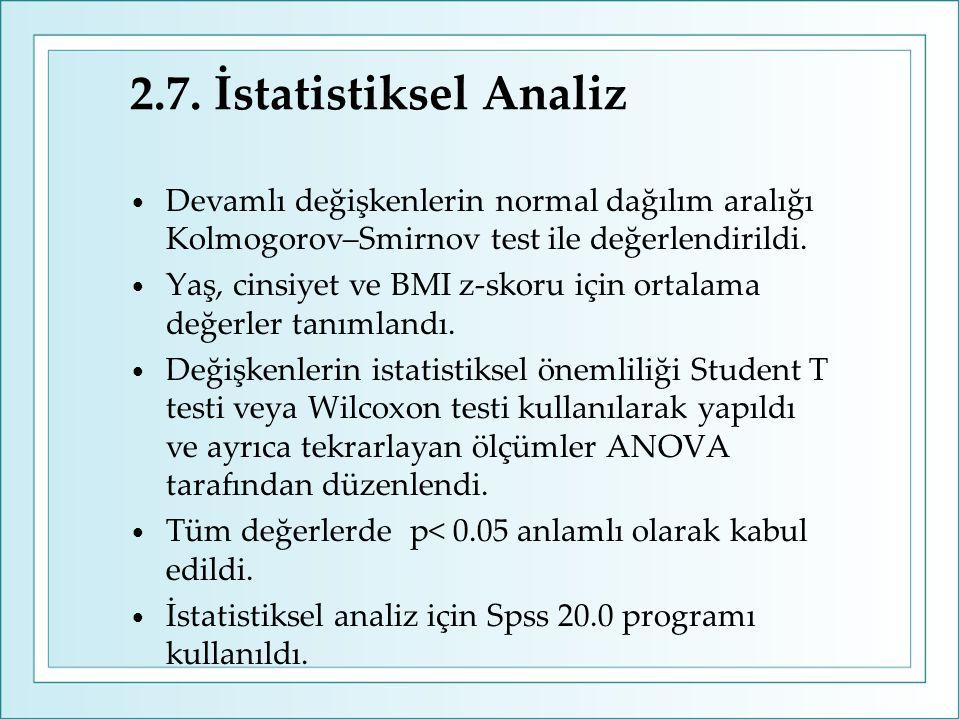 2.7. İstatistiksel Analiz Devamlı değişkenlerin normal dağılım aralığı Kolmogorov–Smirnov test ile değerlendirildi.
