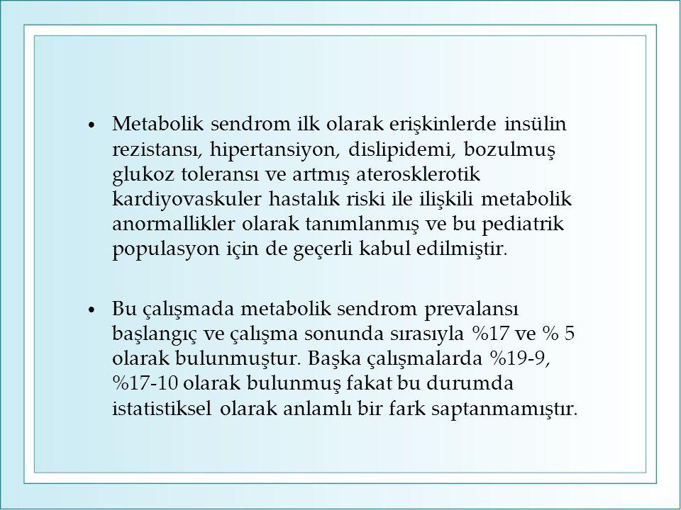 Metabolik sendrom ilk olarak erişkinlerde insülin rezistansı, hipertansiyon, dislipidemi, bozulmuş glukoz toleransı ve artmış aterosklerotik kardiyovaskuler hastalık riski ile ilişkili metabolik anormallikler olarak tanımlanmış ve bu pediatrik populasyon için de geçerli kabul edilmiştir.