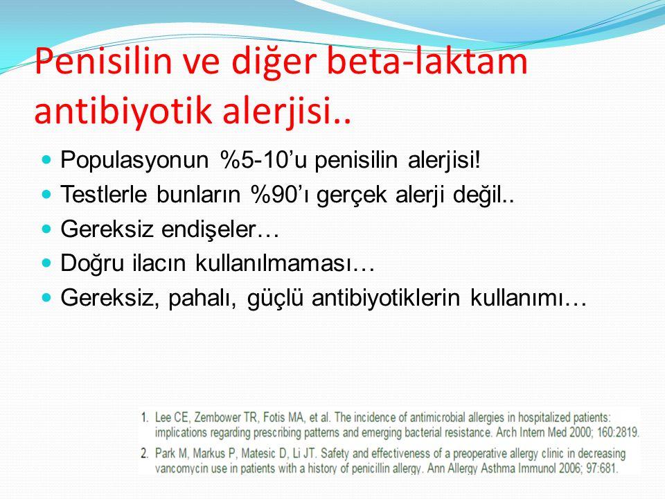 Penisilin ve diğer beta-laktam antibiyotik alerjisi..