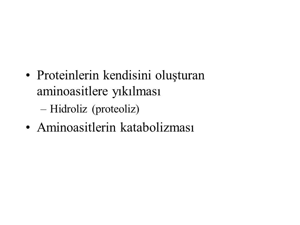 Proteinlerin kendisini oluşturan aminoasitlere yıkılması