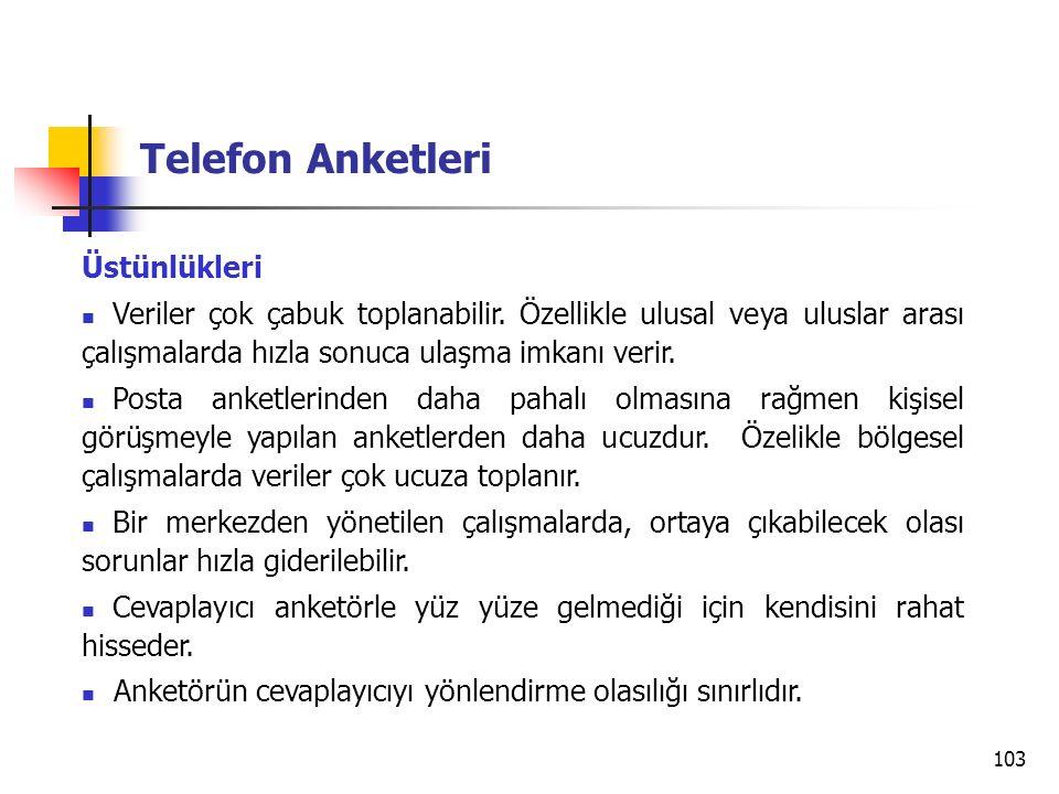Telefon Anketleri Üstünlükleri