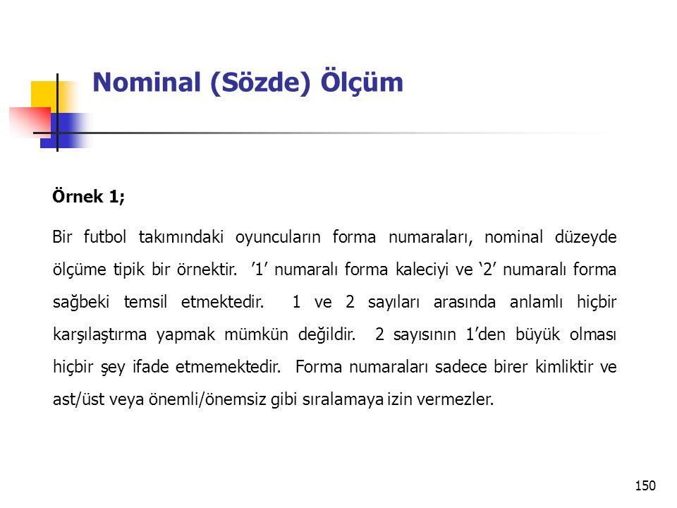 Nominal (Sözde) Ölçüm Örnek 1;