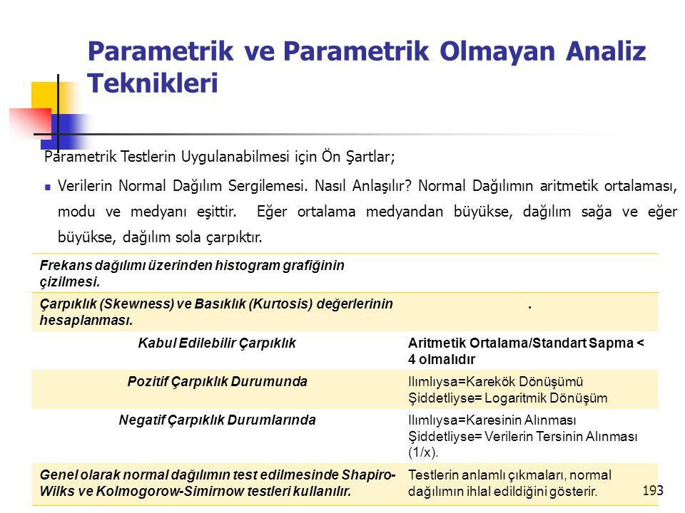 Parametrik ve Parametrik Olmayan Analiz Teknikleri