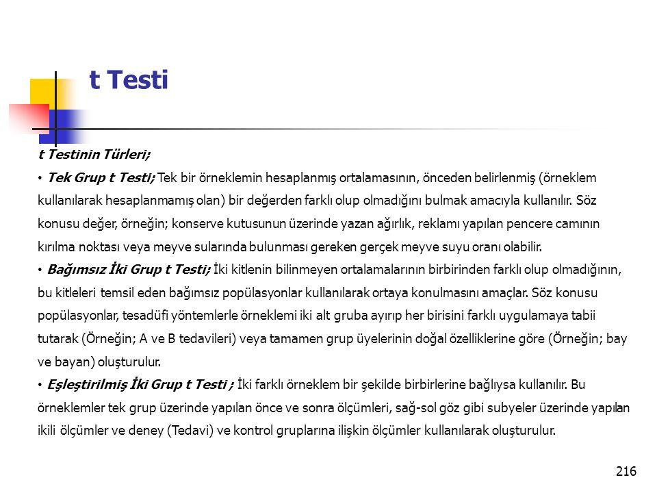 t Testi t Testinin Türleri;
