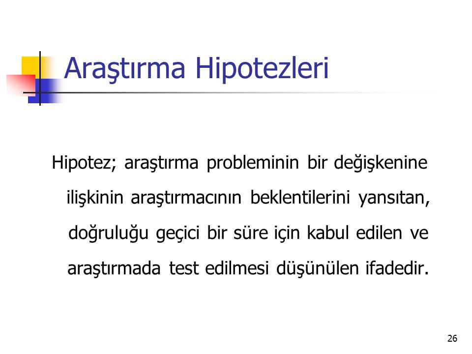 Araştırma Hipotezleri