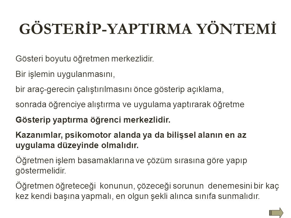 GÖSTERİP-YAPTIRMA YÖNTEMİ