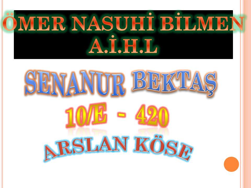 ÖMER NASUHİ BİLMEN A.İ.H.L SENANUR BEKTAŞ 10/E - 420 ARSLAN KÖSE