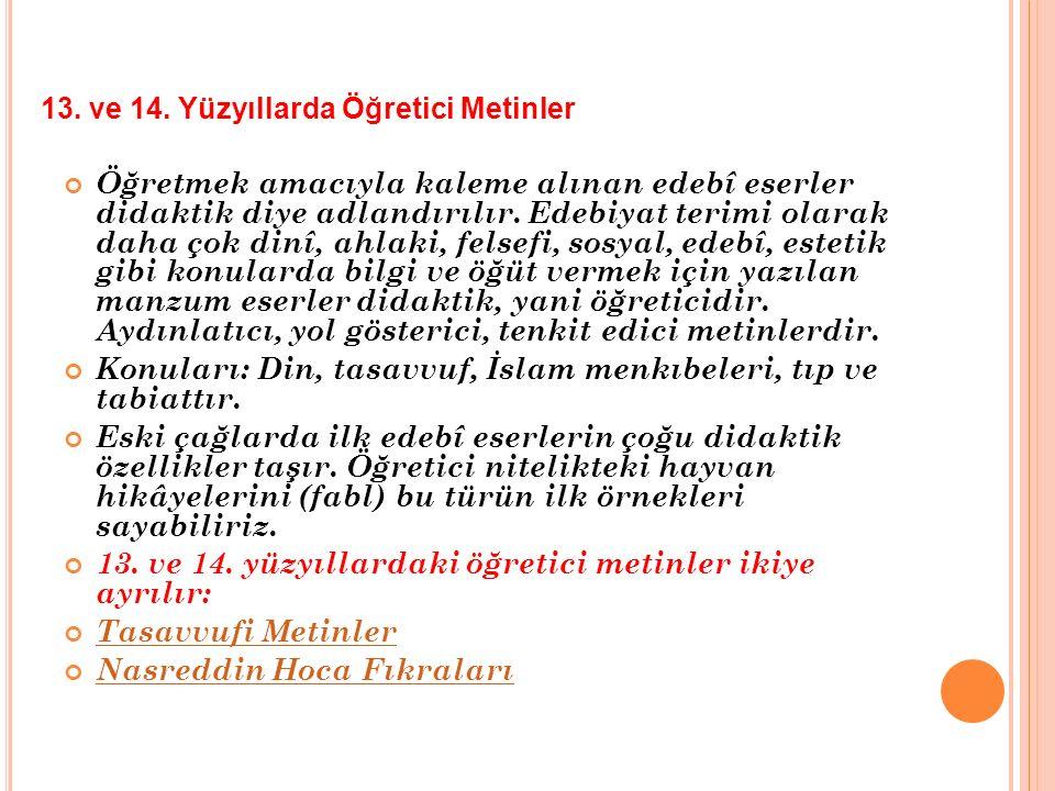 Konuları: Din, tasavvuf, İslam menkıbeleri, tıp ve tabiattır.