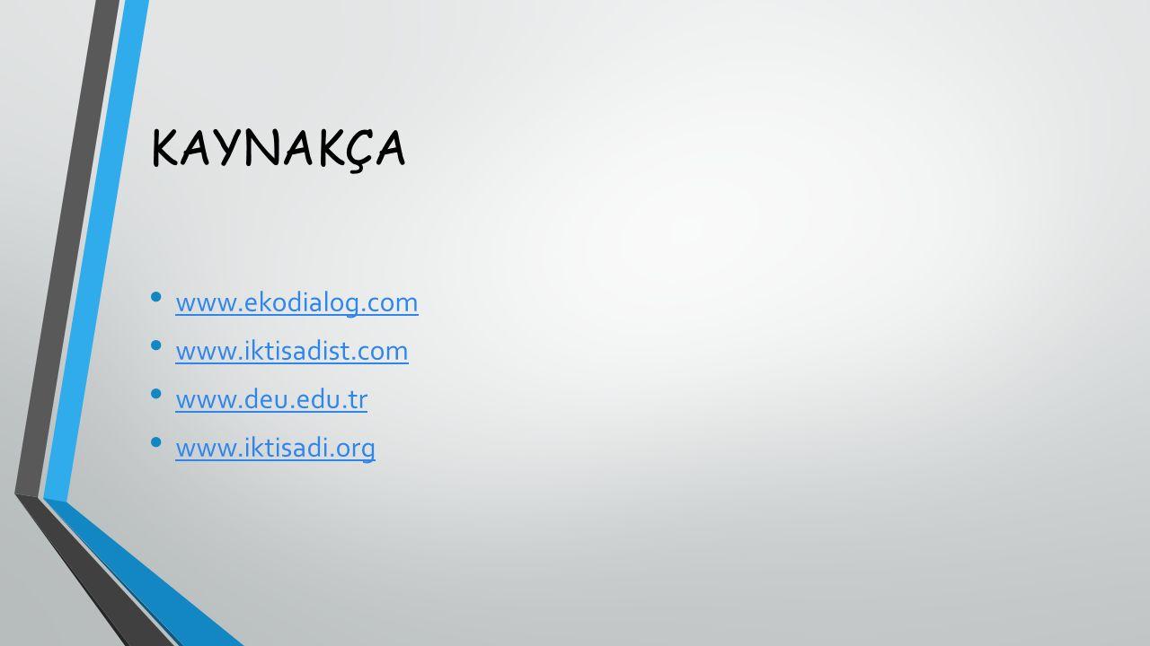 KAYNAKÇA www.ekodialog.com www.iktisadist.com www.deu.edu.tr