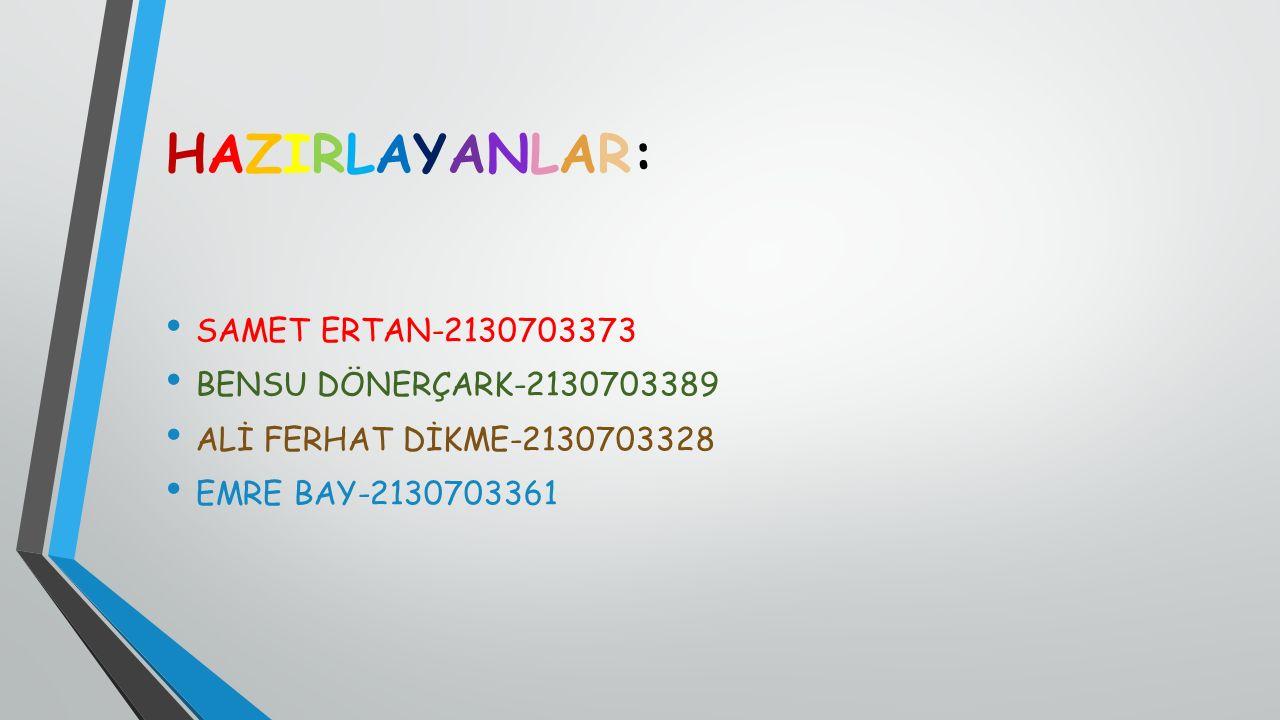 HAZIRLAYANLAR: SAMET ERTAN-2130703373 BENSU DÖNERÇARK-2130703389