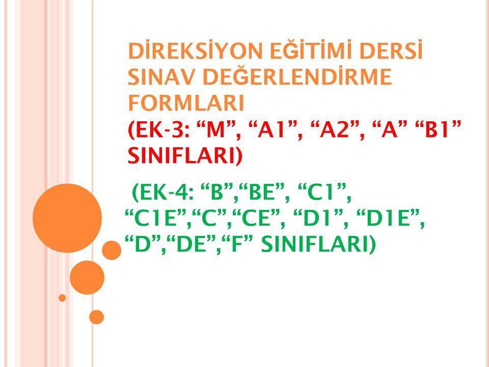 DİREKSİYON EĞİTİMİ DERSİ SINAV DEĞERLENDİRME FORMLARI (EK-3: M , A1 , A2 , A B1 SINIFLARI)