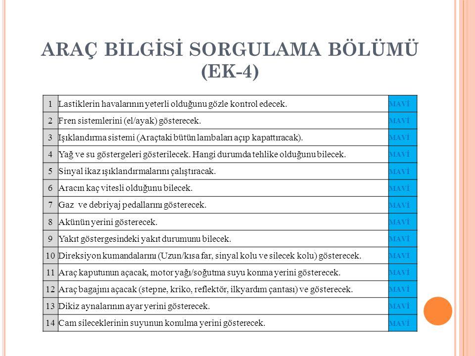 ARAÇ BİLGİSİ SORGULAMA BÖLÜMÜ (EK-4)