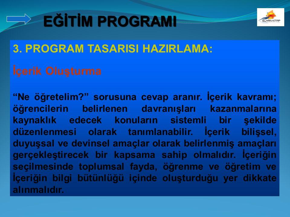 EĞİTİM PROGRAMI 3. PROGRAM TASARISI HAZIRLAMA: İçerik Oluşturma