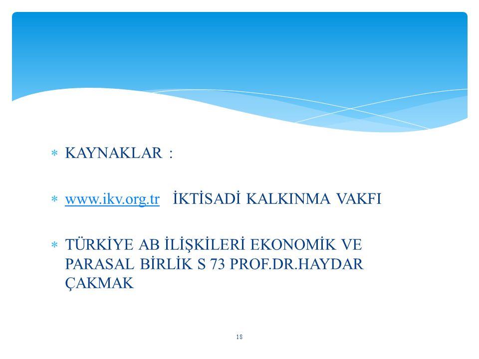 KAYNAKLAR : www.ikv.org.tr İKTİSADİ KALKINMA VAKFI.