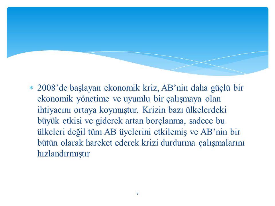 2008'de başlayan ekonomik kriz, AB'nin daha güçlü bir ekonomik yönetime ve uyumlu bir çalışmaya olan ihtiyacını ortaya koymuştur.