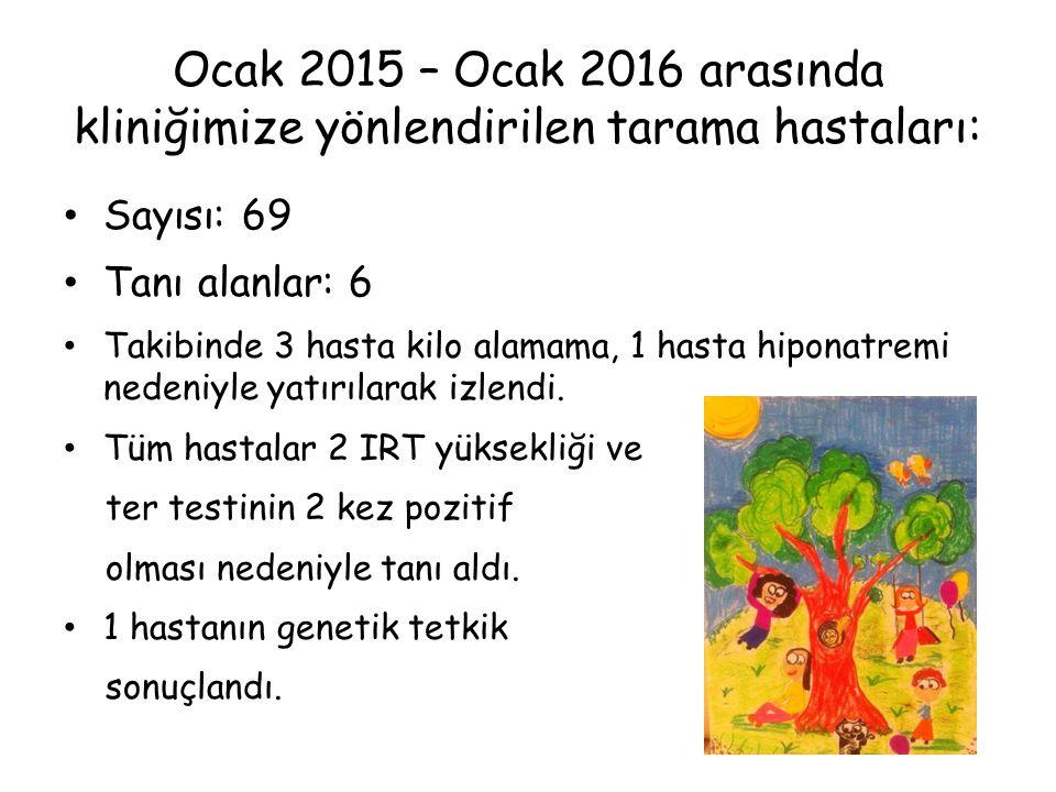 Ocak 2015 – Ocak 2016 arasında kliniğimize yönlendirilen tarama hastaları: