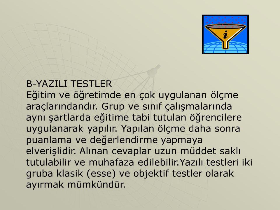 B-YAZILI TESTLER