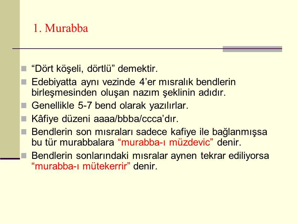 1. Murabba Dört köşeli, dörtlü demektir.