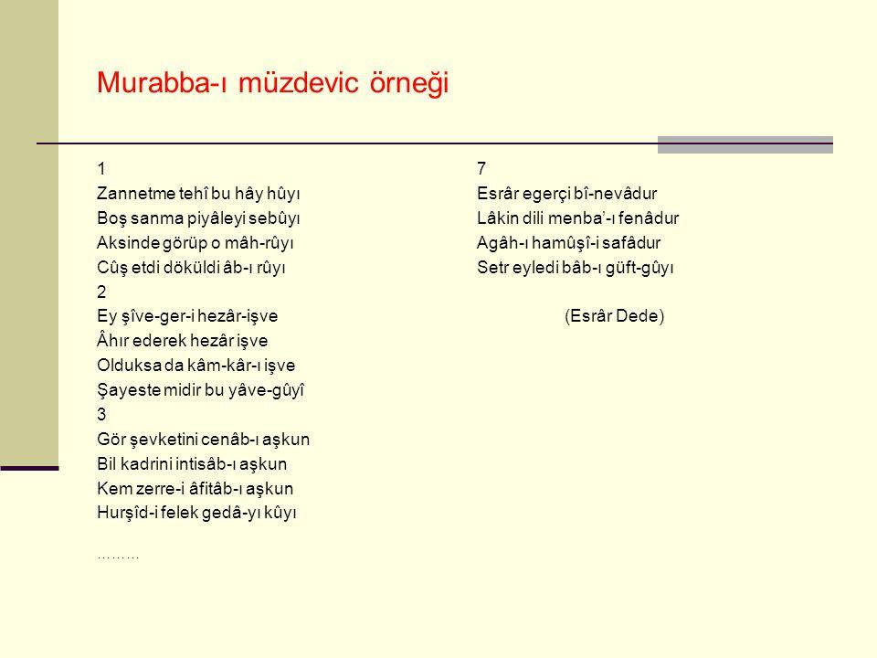 Murabba-ı müzdevic örneği