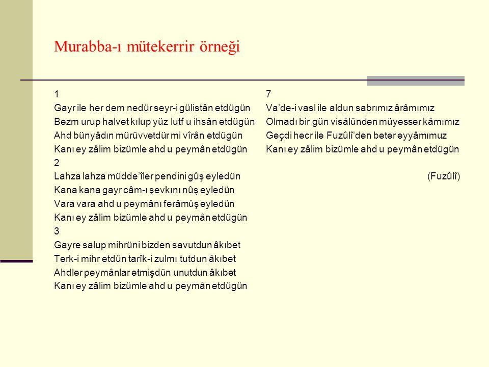 Murabba-ı mütekerrir örneği