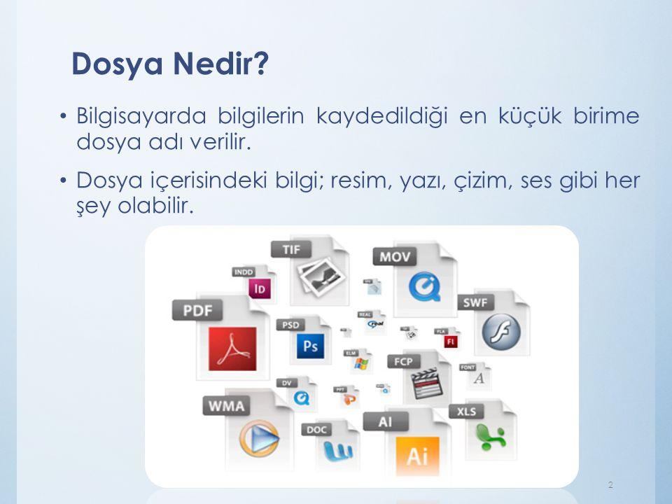 Dosya Nedir Bilgisayarda bilgilerin kaydedildiği en küçük birime dosya adı verilir.