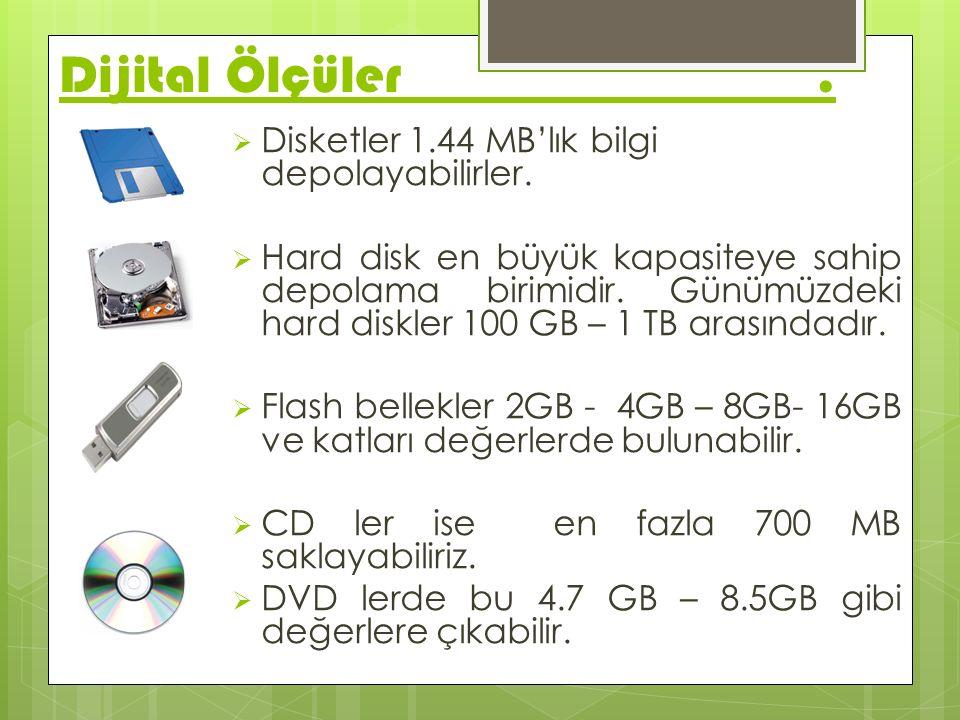 Dijital Ölçüler . Disketler 1.44 MB'lık bilgi depolayabilirler.