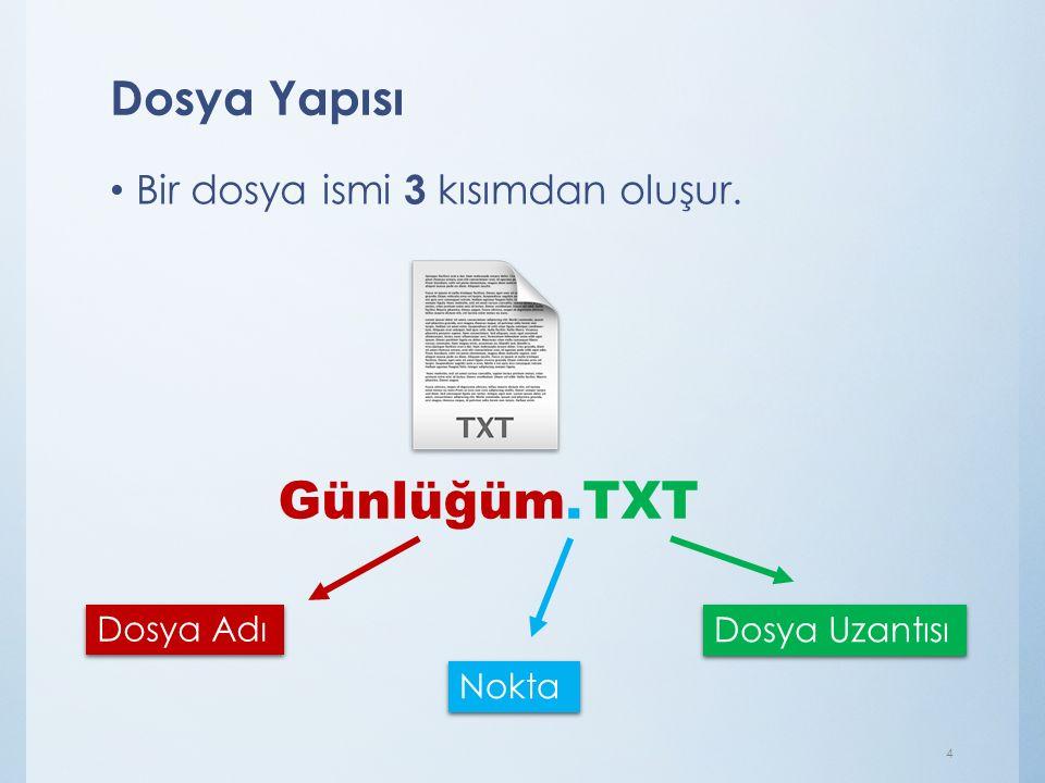 Günlüğüm.TXT Dosya Yapısı Bir dosya ismi 3 kısımdan oluşur. Dosya Adı