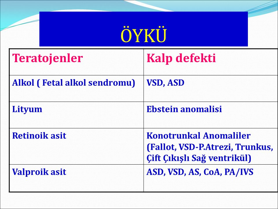 ÖYKÜ Teratojenler Kalp defekti Alkol ( Fetal alkol sendromu) VSD, ASD