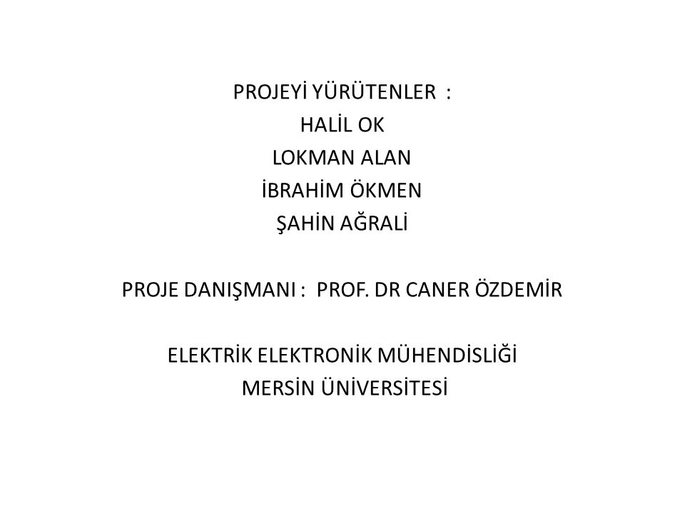 PROJE DANIŞMANI : PROF. DR CANER ÖZDEMİR