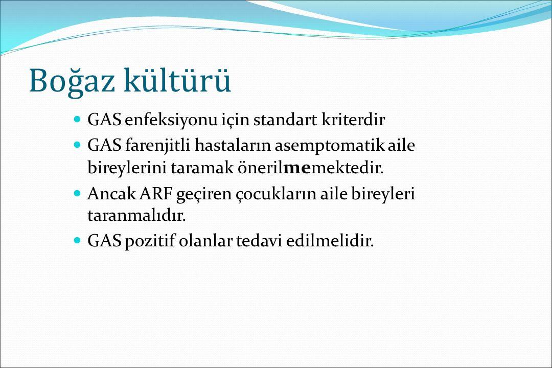 Boğaz kültürü GAS enfeksiyonu için standart kriterdir