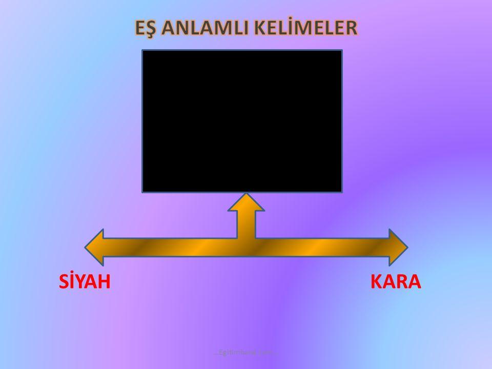 EŞ ANLAMLI KELİMELER SİYAH KARA …Egitimhane.com…