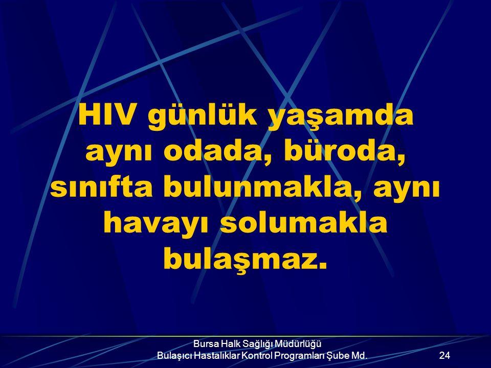 HIV günlük yaşamda aynı odada, büroda, sınıfta bulunmakla, aynı havayı solumakla bulaşmaz.
