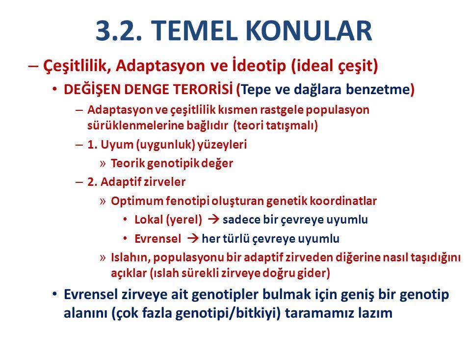 3.2. TEMEL KONULAR Çeşitlilik, Adaptasyon ve İdeotip (ideal çeşit)