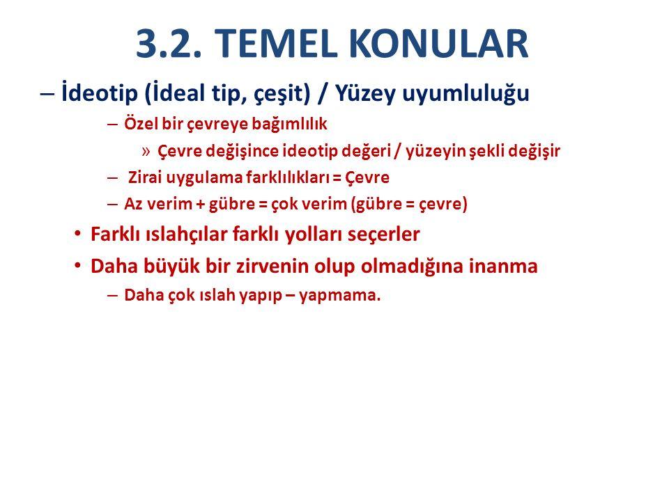 3.2. TEMEL KONULAR İdeotip (İdeal tip, çeşit) / Yüzey uyumluluğu