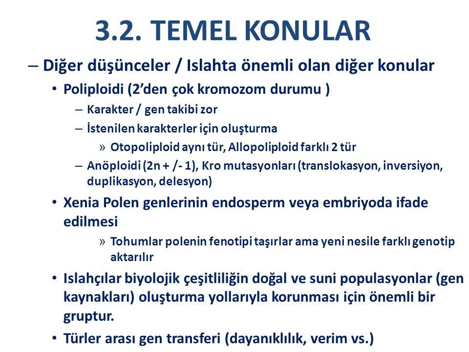 3.2. TEMEL KONULAR Diğer düşünceler / Islahta önemli olan diğer konular. Poliploidi (2'den çok kromozom durumu )